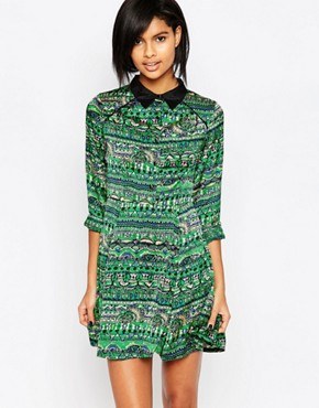 photo Printed Collared Dress by Iska, color Green - Image 1