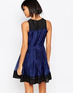 photo Prom Dress with Lace Hem and Neckline by Iska, color Navy Black - Image 2