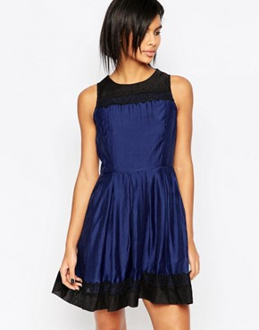 photo Prom Dress with Lace Hem and Neckline by Iska, color Navy Black - Image 1