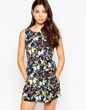photo Skater Dress In Butterfly Print by Iska, color Navy - Image 1