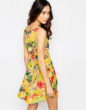 photo Skater Dress in Floral Hummingbird Print by Iska, color Yellow - Image 2