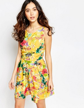 photo Skater Dress in Floral Hummingbird Print by Iska, color Yellow - Image 1