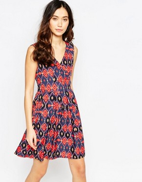 photo Wrap Front Dress in Aztec Print by Iska, color Multi - Image 1