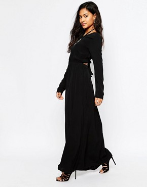 photo Cut Out Back Maxi Dress by JAPONICA, color Black - Image 1