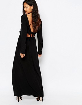 photo Cut Out Back Maxi Dress by JAPONICA, color Black - Image 2