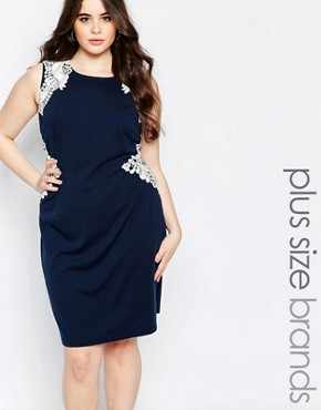 photo Pencil Dress with Embroidered Panel by Koko Plus, color Navy - Image 1