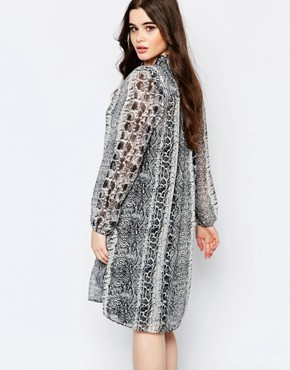 photo Shift Dress with Neck Tie In Animal Print by Koko Plus, color Grey - Image 2