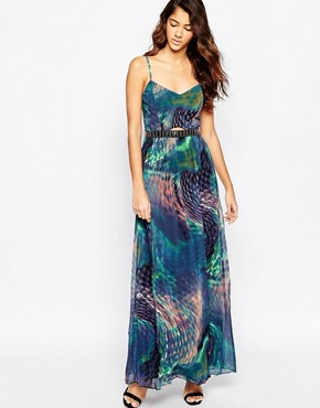 photo Printed Maxi Dress with Waist Detail by Laced In Love, color Multi - Image 1