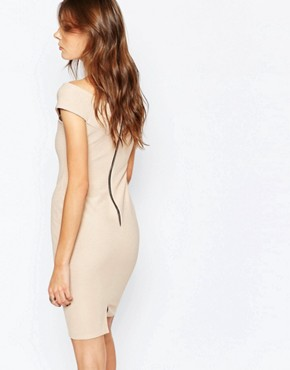 photo Avie Off Shoulder Ribbed Bandage Dress by Lipstick Boutique, color Gold Rib - Image 2