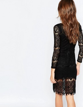 photo Nita Lace Bodycon Dress by Lipstick Boutique, color Black Lace - Image 2