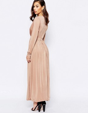 photo Maxi Dress with Plunge Neck and Thigh Split by Lipstick Boutique Petite, color Nude - Image 2