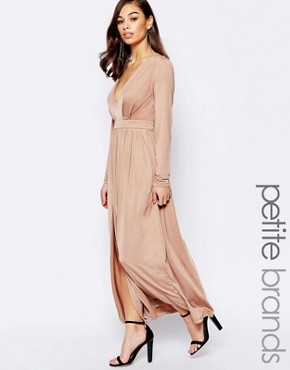 photo Maxi Dress with Plunge Neck and Thigh Split by Lipstick Boutique Petite, color Nude - Image 1