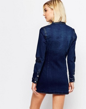 photo Portland Rose Denim Shirt Dress by Liquor & Poker, color Dark Blue - Image 2