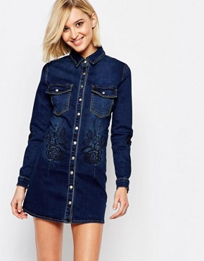 photo Portland Rose Denim Shirt Dress by Liquor & Poker, color Dark Blue - Image 1