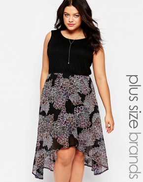 photo Dress with Dip Hem Skirt by Live in Love Plus, color Black Multi - Image 1