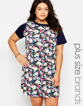 photo Shift Dress In Floral Print by Live in Love Plus, color Black Multi - Image 1