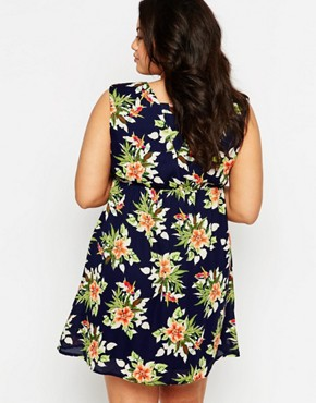 photo Wrap Front Dress In Floral Print by Live in Love Plus, color Navy Multi - Image 2