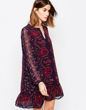 photo Dark Paisley Print Shift Dress by Maison Scotch, color Multi - Image 1
