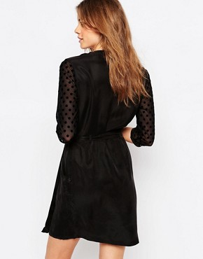 photo Polka Dot Sleeve Wrap Dress by Maison Scotch, color Black - Image 2