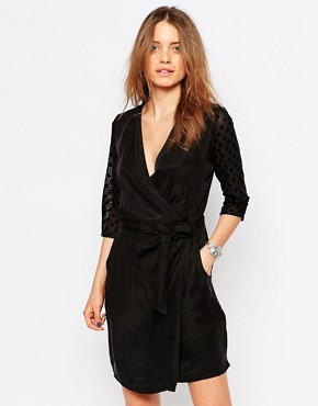 photo Polka Dot Sleeve Wrap Dress by Maison Scotch, color Black - Image 1
