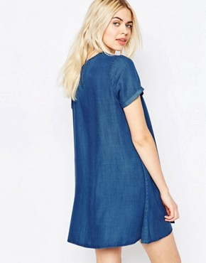 photo Denim Tencel Swing Dress by Native Youth, color Mid Wash - Image 2