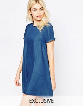photo Denim Tencel Swing Dress by Native Youth, color Mid Wash - Image 1