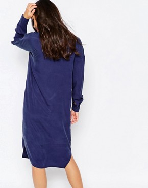photo Longline Zip Bomber Dress by Native Youth, color Blue - Image 2