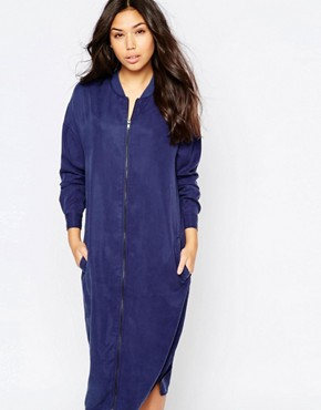 photo Longline Zip Bomber Dress by Native Youth, color Blue - Image 1