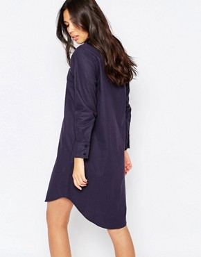 photo Oversized Washed Cotton Shirt Dress by Native Youth, color Navy - Image 2