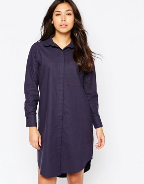 photo Oversized Washed Cotton Shirt Dress by Native Youth, color Navy - Image 1