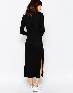 photo Ribbed Midi Dress by Native Youth, color Black - Image 2