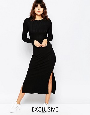 photo Ribbed Midi Dress by Native Youth, color Black - Image 1