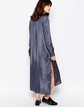 photo Satin Touch Maxi Shirt Dress by Native Youth, color Slate Grey - Image 2