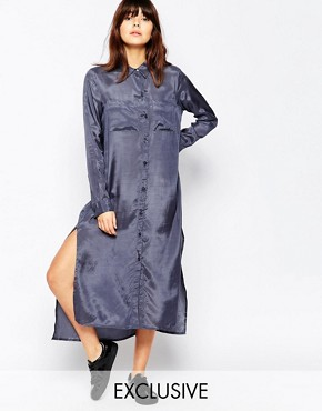 photo Satin Touch Maxi Shirt Dress by Native Youth, color Slate Grey - Image 1