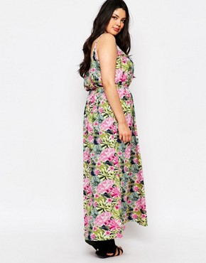 photo Maxi Dress with Cut Outs In Tropical Floral Print by NVME Plus, color Multi - Image 2