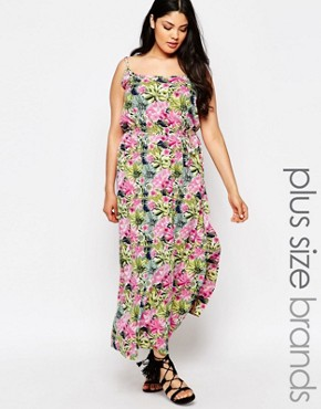 photo Maxi Dress with Cut Outs In Tropical Floral Print by NVME Plus, color Multi - Image 1