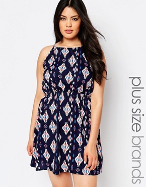 photo Midi Dress with Open Back by NVME Plus, color Navy Multi - Image 1
