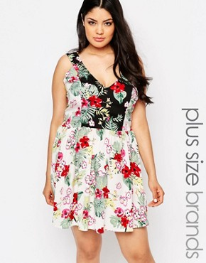 photo Skater Dress In Mixed Floral Print by NVME Plus, color Multi - Image 1