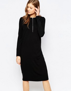 photo Cruna Zip Front Dress by Pieces, color Black - Image 1