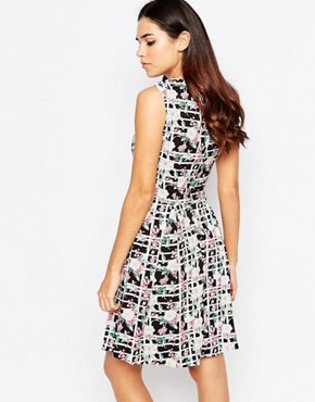 photo Priya Dress In Checked Floral Print by Poppy Lux, color Black White - Image 2