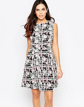 photo Priya Dress In Checked Floral Print by Poppy Lux, color Black White - Image 1