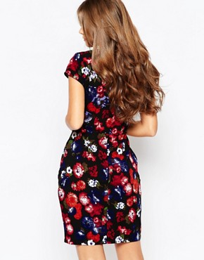 photo Tarsha Shift Dress In Floral Print by Poppy Lux, color Black Multi - Image 2