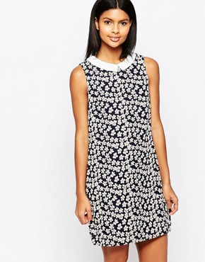photo Valetta Shift Dress with Contrast Collar by Poppy Lux, color Navy Multi - Image 1