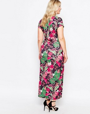 photo Maxi Dress In Tropical Print by Praslin Plus, color Black Tropical - Image 2