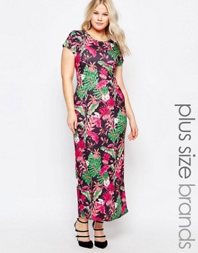 photo Maxi Dress In Tropical Print by Praslin Plus, color Black Tropical - Image 1