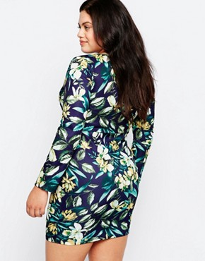 photo Pencil Dress In Floral print with Contrast Insert by Praslin Plus, color Multi - Image 2