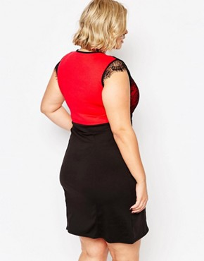 photo Plus Size Dress with Lace Top by Praslin, color Red - Image 2