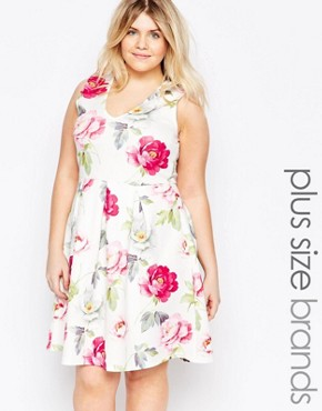 photo Plus Size Skater Dress In Floral Print by Praslin, color White Floral - Image 1