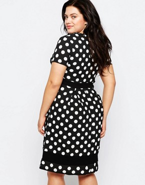 photo Plus Size Skater Dress In Polka Dot Print with Contrast Band by Praslin, color Black - Image 2