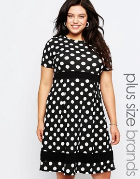 photo Plus Size Skater Dress In Polka Dot Print with Contrast Band by Praslin, color Black - Image 1